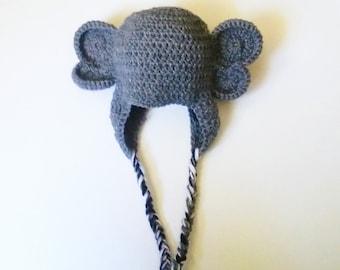 crochet elephant hat, newborn elephant hat, baby elephant hat, elephant baby gift, elephant photo prop, gender neutral baby gift elephant