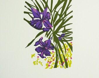 Colorful Iris Linocut Print