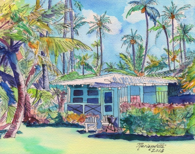 Kauai Blue Cottage 2 8x10 print from Kauai Hawaii teal aqua tropical