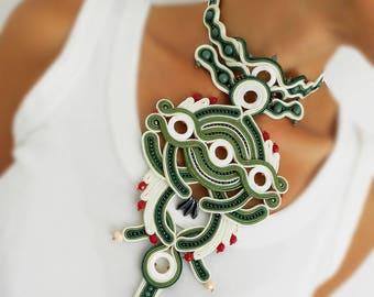 Olive green soutache necklace, off white olive green soutache necklace, green ivory oversized soutache necklace, off white green red choker