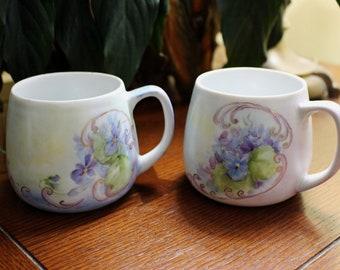 Pair of Vintage China Painted Mugs Violets