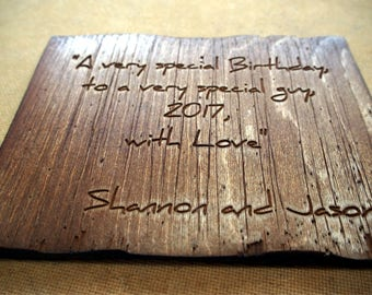 Personalized Rustic Wood Greeting Card |Your text engraved on aged wood |Unique gift card |Gift for Dad, Mom, Husband |Anniversary gift