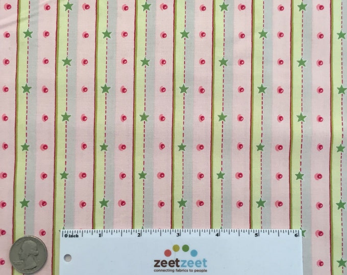 SALE Fm-07 STRIPE & DOT Pink Green Gray Felicity Miller Sun Moon Collection Cotton Quilt Dress Fabric by the Yard