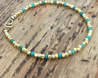 Vermeil Nugget and Turquoise Bracelet
