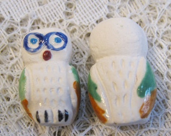 2 White Snowy Owl Peruvian Ceramic Owl Beads 20mm x 14mm