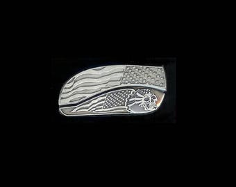 Flag Skull Belt Buckle Knife.