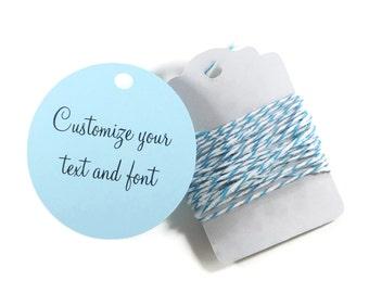 Custom Circle Shaped Tags 20pc, Light Blue Circle Tags, Bridal Shower Tags, Wedding Favor Tags, Sky Blue  Round Tags, Custom Favors