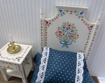Dollhouse miniature bed in 12th scale Portuguese typical  hand painted furniture from Alentejo, white warm  with tiny flowers and leaves