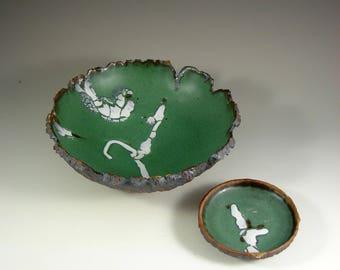 "Ceramic Art Bowl - Two Piece - ""Forest Renewing"" - Handmade Pottery Centerpiece Bowl - Wheel Thrown Stoneware Art"