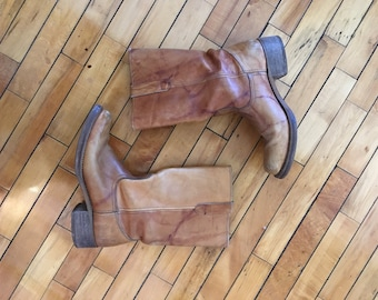 Vintage 60s blonde brown leather work boots by Sears size 10 B