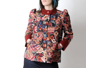 Floral quilted jacket, Short red floral jacket, Red and blue short coat, Womens clothing, Womens jackets, Fall fashion, MALAM, size UK12