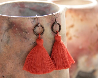 Paprika Tassel Earrings with Gunmetal and Black Oxidized Silver