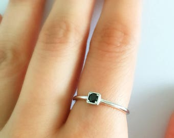 Dainty Black Cz Ring. Stackable Ring. Minimalist Ring. Sterling Silver Ring, Adjustable Ring. Minimalist Jewelry.