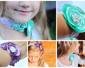 Universal Flower Bracelet/ lower Hair Headband/ Handmade Headband/ Bridal Shower Bracelet/Flower Necklace/ Ribbon Flower Jewellery/