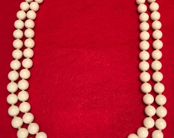 White Glass Bead Two Strand Knotted Necklace-Japan