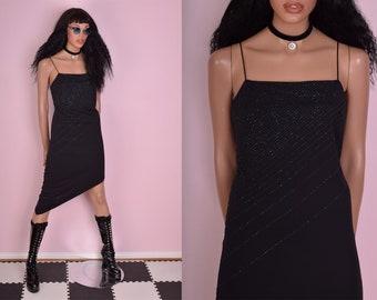 90s Blue and Black Beaded Asymmetrical Dress/ Medium/ 1990s/ Tank