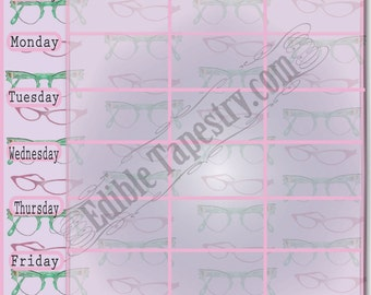 Cat's Eye Glasses Printable Weekly Menu Planner Printable Sheet Retro Style Lined Weekly Planner Chart Food Calender Graph Kitchen Organizer