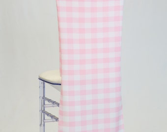 Pink and White Check Gingham Polyester Chiavari Chair Cover