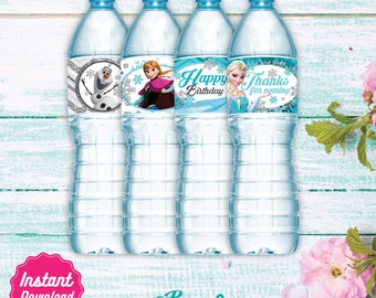 Frozen Water Labels, Printable Water Bottle label, Disney Frozen Birthday decoration, Elsa, Anna, Olaf, instant download, DIY