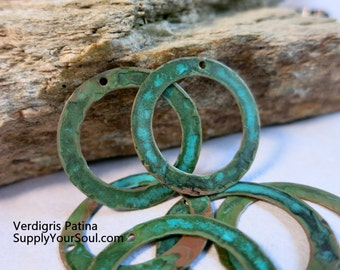 """1 1/4"""" Hammered Copper Washers, Set of 6,  Choice of Patina & Punched Holes, Earring Hoops, Handmade Findings"""