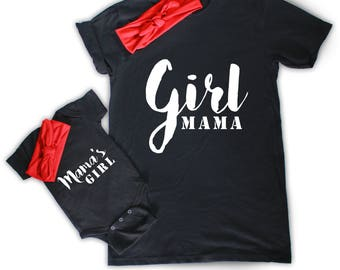 Girl Mama and Mama's Girl - Cute Matching T-shirts Mom and Baby Girl - With or Without Matching Headbands -