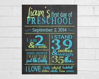 Boy's First Day of School Chalkboard All About Me Poster Perfect for Fall and Start of School Year jpeg/digital file