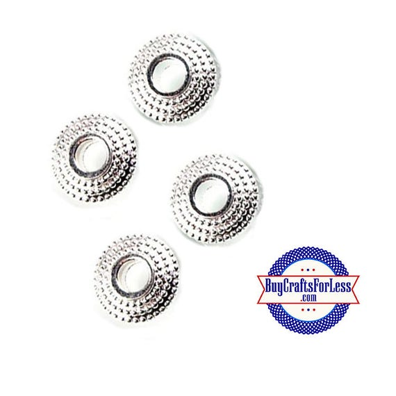 Spacer Beads, Bright Silver Alloy, 6 pcs