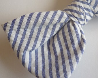 Men's Blue Seersucker Bow Tie - self tying, pre-tied with adjustable strap, or clip on - ring bearer outfit - wedding attire