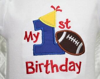 Birthday, first birthday, 1st birthday, baby boy, football, personalized, birthday hat,  bodysuit, birthday party, baby boy clothes,