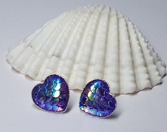Mermaid Earrings, Mermaid Jewelry, Mermaid Earring, Beach Earrings, Dragon Earrings, Mermaid Jewellery, Mermaid Scale, Ocean Earrings, Heart