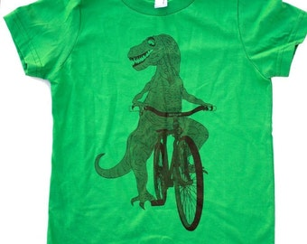 Dinosaur on a Bicycle - Grass Green Short Sleeve T-Shirt - American Apparel - FREE SHIPPING - Available in 2T, 4T, 6T