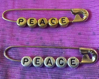 """Unity Safety Pin - """"PEACE"""" - You choose gold or silver tone"""