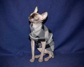 PLAID GREY FLEECE Comfy Cat Shirt Your Choice Sleeveless or With Cuff & Collar by ComfyStyles  Costume Pajama Sphynx Cat Clothes all breeds