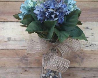 Hydrangea Vase with Burlap Bow