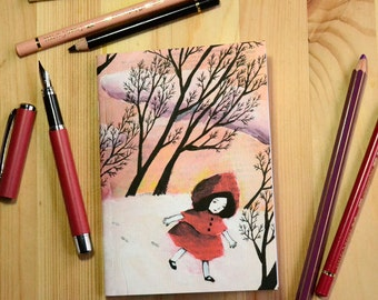 Small illustrated notebook - Little Red Riding Hood in the Snow - pattern 3