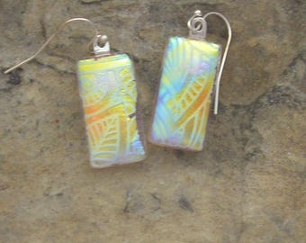 Dichroic Earrings Dichroic Earrings Fused Dichroic Glass Earrings