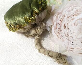 Mushroom brooch vintage, green mushroom decoration, big mushroom jewelry