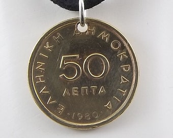 Greek Coin Necklace, 50 Lepta, Coin Pendant, Leather Cord, Mens Necklace, Womens Necklace, Birth Year, 1980
