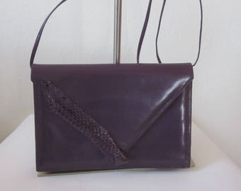"1980s Purple Leather Envelope Clutch Handbag by ""Lisette, New York, Florence"""