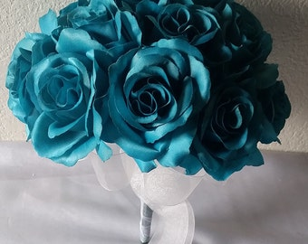 Turquoise Satin Rose Bridal Wedding Bouquet & Boutonniere