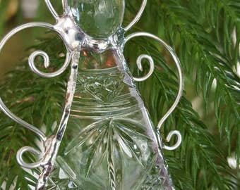 glass angel ornament made from upcycled plates