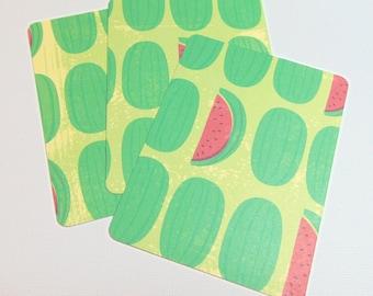 3x4 Watermelon Journal Cards Set of 3
