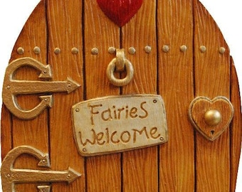 Fairy Door Large Fairies Welcome  Colours available Green, Red, Tan and Pink. Indoor or Out.  Invite the fairies to your home or garden.