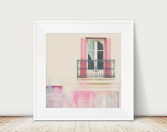 window photograph, french decor, french architecture print, balcony, pink shutters photograph, Europe travel photograph