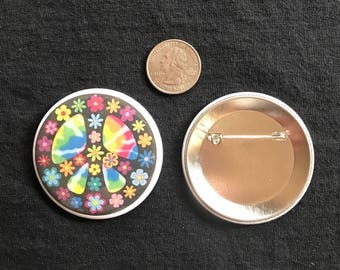 "2.25"" Flower Peace Sign Button"