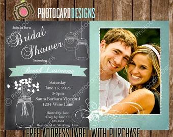 Mason Jar Shower Invitation, Photo Invitation, Wedding Shower, Couples Shower, Card, Digital, Printable, Print file, invite | Jar | Bride