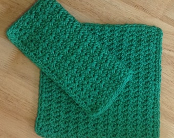 Crochet Cotton Dishcloth set of 2 in Emerald Green