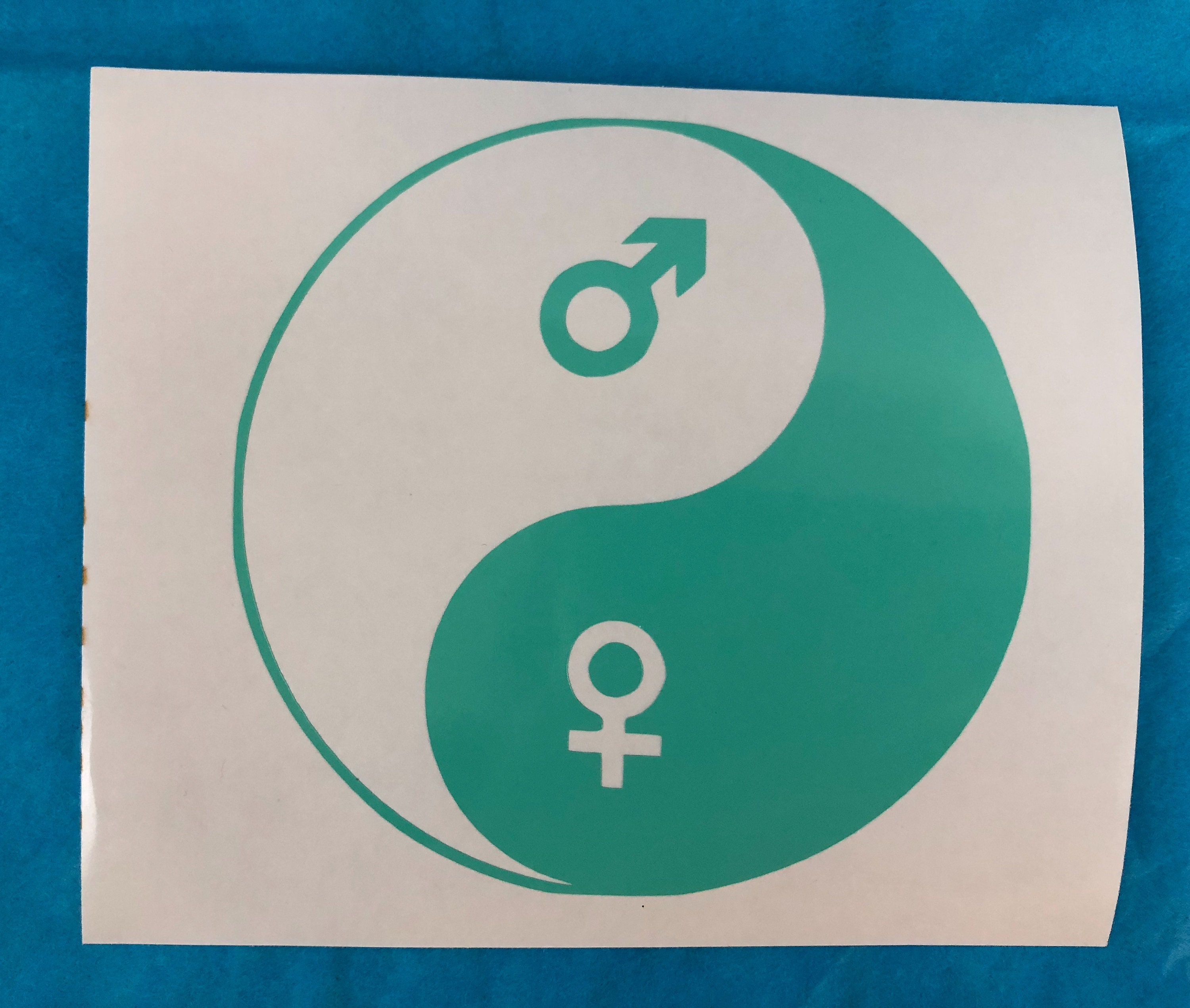 Green Yin And Yang Male Female Symbols Vinyl Decal