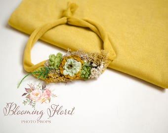 Mustard wrap and tieback set,  Newborn Floral Photo prop set, Newborn Photography Prop, Floral wrap, Newborn tieback.