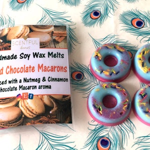 Spiced Chocolate Macarons ~ Soy Wax Melts ~ Soy Wax Donut Tarts ~ Highly Scented Melts ~ 100% Natural Soy Wax